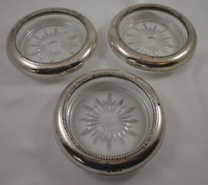 Lot Of 3 Vintage Frank M Whiting Sterling Silver Cut Glass Coasters