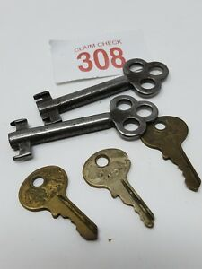 Lot Of 2 Antique Brass Skeleton Hollow Barrel Key 3 Lion Master Lock