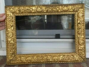 Antique Victorian Bright Gold Paint Shabby Picture Frame 8 X 12 In Fit C1860s