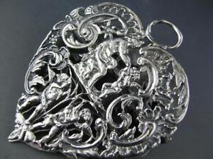 Elaborate English Sterling Desk Clip Figural Cherubs Angel Wm Comyns London 1888