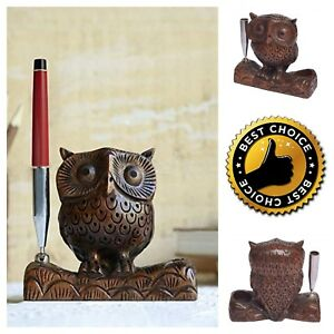 Stylish Wooden Owl Pen Holder Organizer Desk Decoration Pencil Holder