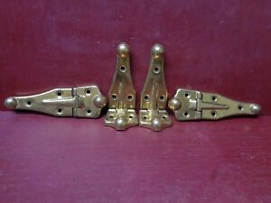 4 Vintage Nos More Avail Cabinet Door Steamer Trunk Brass Plated Hinges 3