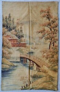 Superb Meiji Era Japanese 44 X 28 Silk Tapestry Wall Hanging Textile Embroidery
