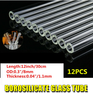 12 Pyrex Glass Blowing Tubes 12pcs 8mm Od Clear Thick Glass Tubing