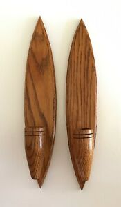 Vintage Pair Of Mid Century Modern Wood Wall Candle Holder Sconces 13 1 2
