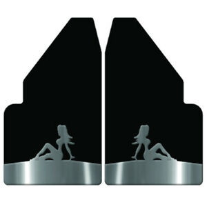 Universal Mud Flaps 14 Wide Rear With Naked Lady Stainless Steel Anchor Weights