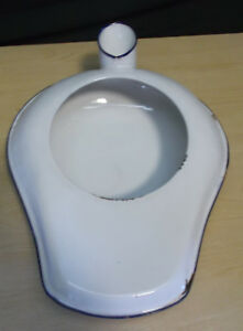 Vintage Antique Hospital Bed Pan Chamber Pot Porcelain Enamel Enamelware