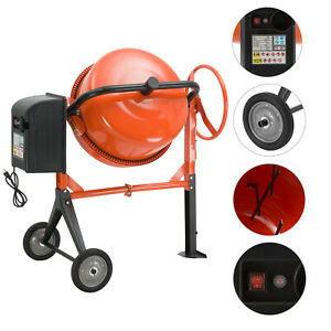 5cuft Portable Electric Concrete Cement Mixer Barrow Machine 1 2hp Mixing Mortar