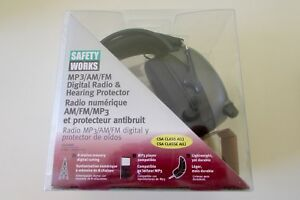 new safety Works 10121816 Mp3 am fm Digital Radio Hearing Protector Ear Muffs