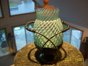 Buckeye Glass Brides Basket Rare Blue White Reverse Swirl W Silverplated Base