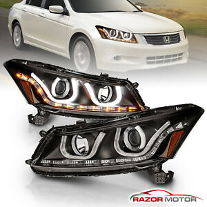 U Shape Style For 2008 2012 Honda Accord Sedan Black Led Projector Headlights