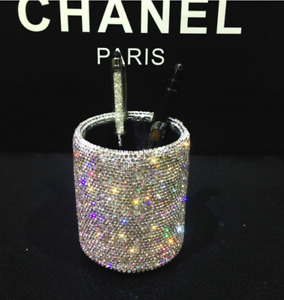 Bling Bling Spark Crystal Pen Holder Stand Cup Box Organizer For Desk Office And