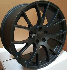 20x9 Rims Satin Black Wheels Tires Hellcat Style Fit Challenger Charger 300c 22