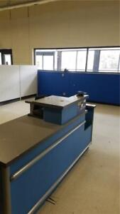 Checkout Counter Blue Used Store Fixtures Equipment W Computer Customer Service