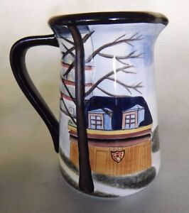 Large Hand Painted Ceramic Pitcher Jug Chef Cook City 2 Qt By Milton