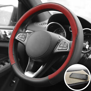 Two Tone Steering Wheel Cover Leather For Auto Red Black W Beige Dash Mat