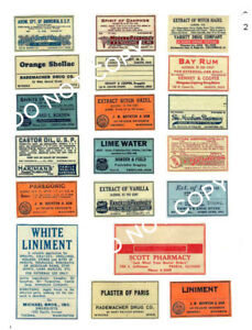 Old Looking Medicine Pharmacy Labels Fh28 Reproduction