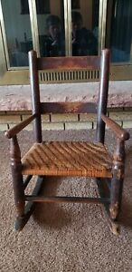 Antique Wood Rocking Chair Wicker Rush Seat C Late 1800s Early 1900s