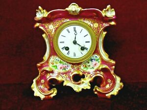 Antique French Clock Rococo Revival Style Gilded Floral Medailles D Or 1844