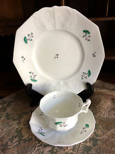 1840 S English Staffordshire Sprig Ware Pristine Cup Saucer Plate W Provenance