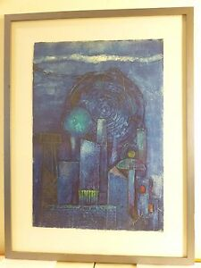 Vintage Abstract Modernist Cityscape Oil Painting Mid Century Listed Burdick