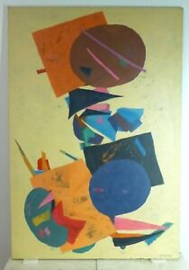 Vintage Abstract Expressionist Oil Painting Mid Century Listed Ny Semiatin