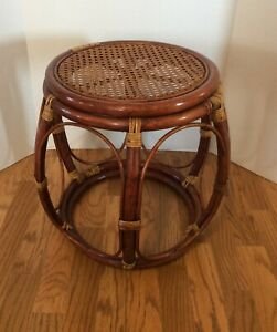 Vintage Mid Century Bentwood Rattan Occasional Side Table Plant Stand Caned Top