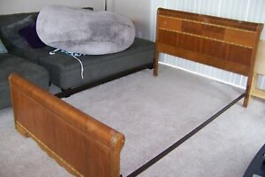 Vintage Queen Sized Inlaid Art Deco Headboard And Footboard Set With Metal Rails