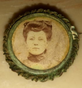 Old Antique Thick Metal Button With Picture Of Woman