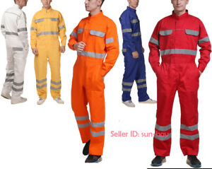 Men Workwear Coverall Jumpsuit Work Mechanic Boilersuit Overall Pant Reflective