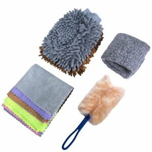 9x Car Wash Mitt Microfiber Cloth Car Washing Towel Kit Mini Car Duster