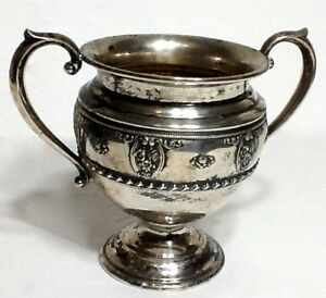 Antique Sterling Silver Sugar Bowl 3 88 Oz Wallace 4640 9 Embossed Roses