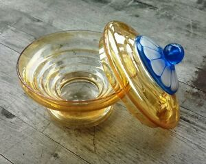 Vintage Bohemian Czech Art Deco Iridescent Lidded Glass Candy Dish