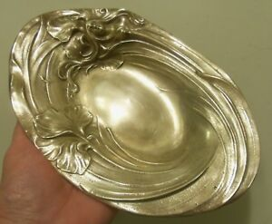 Antique Brass Bronze Art Nouveau Nude Lady Flowing Hair Pin Dresser Coin Tray
