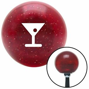White Martini Glass W Olive Red Metal Flake Shift Knob With 16mm X 1 5 Insert
