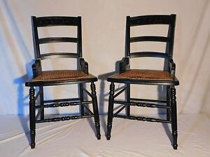 Vintage Antique Set Of 2 Cane Seat Wood Chairs 34 Tall X 16 X 18