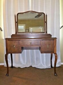 1800 S Antique Vanity Desk Furniture With 3 Drawers And Glass Top Solid Walnut