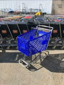 Shopping Carts Blue Plastic Lot 16 Medium Basket Used Store Fixture Dollar Store