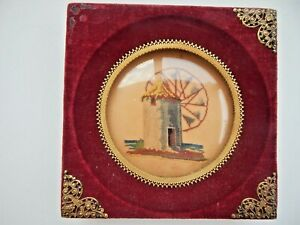 Antique Needlepoint Framed Red Velvet Super Tiny Intricate Stitches Windmill