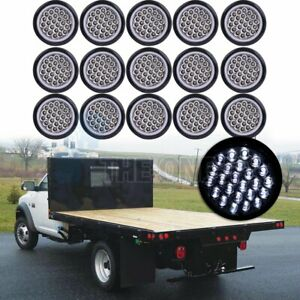 15pcs 24v 4 24 Led Side Marker Tail Lights Trailer Clearance Lamps Round White