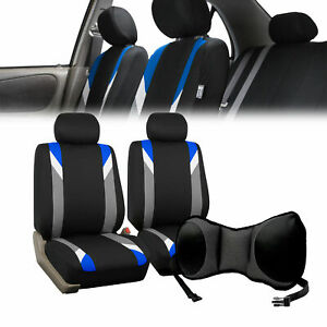Car Front Bucket Seat Covers W Gray Seat Cushion Pad Combo Auto Car Suv Blue