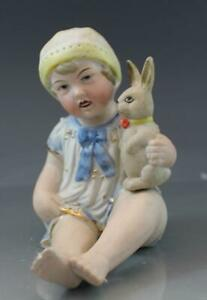Antique C1900 German Bisque Piano Baby Porcelain Figurine W Bunny Rabbit Easter