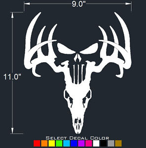 Deer Punisher Skull Decal Window Hunting Sticker Bone Collector Select Color