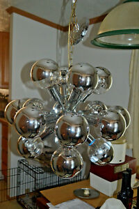 Vintage Mid Century Modern Space Age Hanging Chrome Sputnik Eyeball Lamp