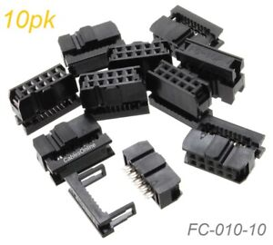 10 pack 10 pin Female Idc 2 54mm Pitch Connectors For Flat Ribbon Cable