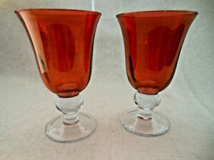 Elegant Pair Iridescent Cranberry Red Pink Stemmed Wine Water Drinking Glasses