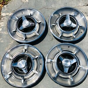 4 Used 1967 Dodge Charger Spinner Hubcaps Oem Rare Excellent Condition
