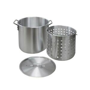60 Qt Aluminum Stock Pot Lid Stainless Steel Cookware Cooking Kitchen Round