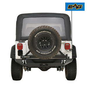 Eag Rear Bumper With Secure Lock Tire Carrier Fit 1987 2006 Jeep Wrangler Tj Yj