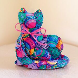 Primitive Easter Kitty Cat Shelf Sitter Ornie Doll Pillow Colorful Eggs Cranston